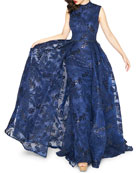 Mac Duggal High-Neck Sleeveless Novelty Fabric Column Gown