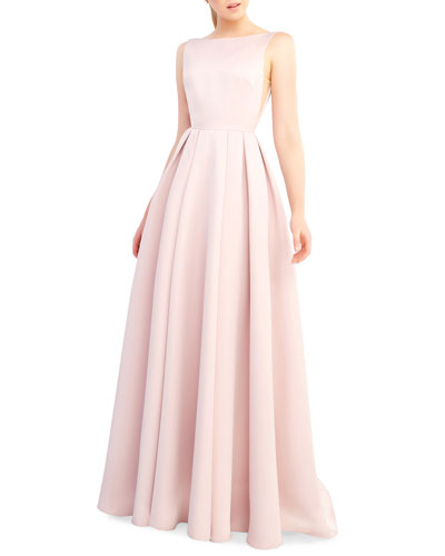 Bateau-Neck Sleeveless Open-Back Pleated A-Line Gown