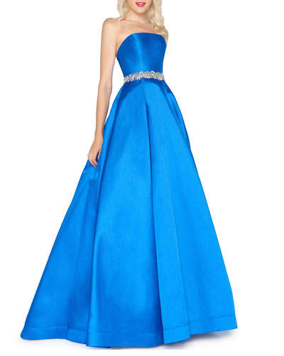 Strapless Bejeweled-Waist Satin Ball Gown