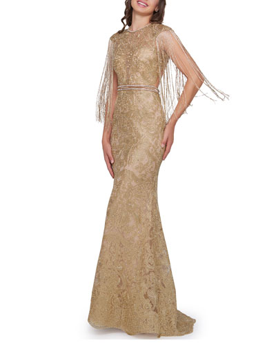 a57e6205 Quick Look. Mac Duggal · Metallic Crewneck Beaded Fringe-Sleeve Open-Back  Trumpet Gown