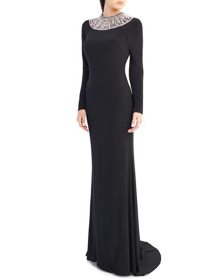 Ieena for Mac Duggal Embellished Crewneck Long-Sleeve Jersey Gown