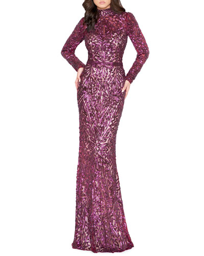 11ebbe4dbfd60 Sequined Long Sleeves Gown | Neiman Marcus