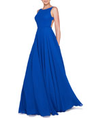 Ieena for Mac Duggal High-Neck Sleeveless Open-Back Chiffon