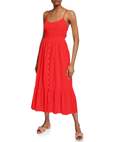 Lena Sleeveless Tie-Back Midi Cotton Dress