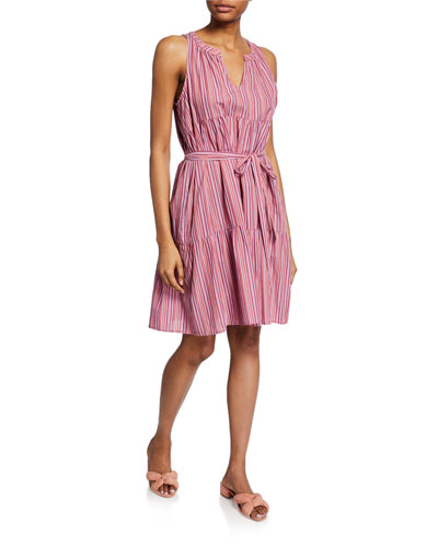Elouise Striped Sleeveless Tiered Cotton Dress