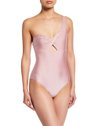 The Phoebe One-Shoulder Twisted Cutout One Piece Swimsuit