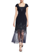 Aidan Mattox Beaded Cap-Sleeve Mermaid Cocktail Dress w/
