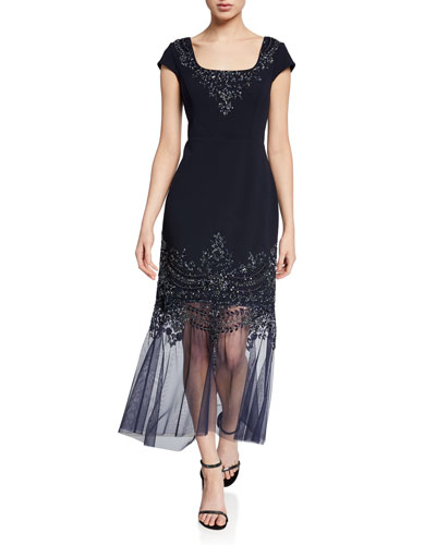 Beaded Cap-Sleeve Mermaid Cocktail Dress w/ Illusion Hem