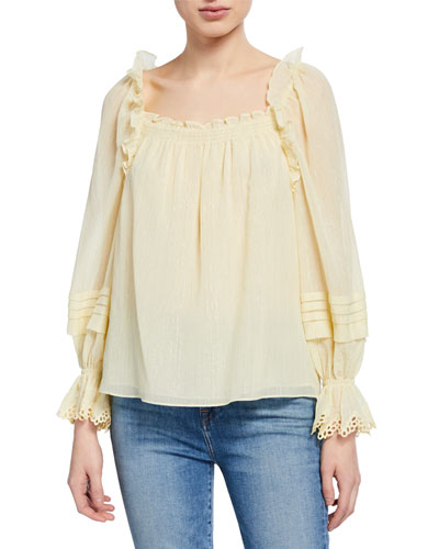 Square-Neck Metallic Ruffle Top