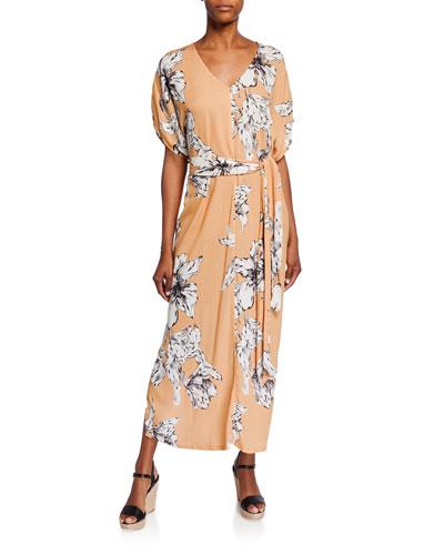 Rae Floral-Print V-Neck Short-Sleeve Belted Crinkle Dress