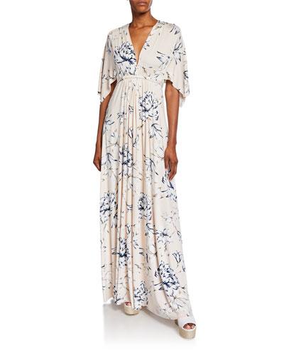 Plus Size Floral-Print V-Neck Short-Sleeve Long Caftan Dress
