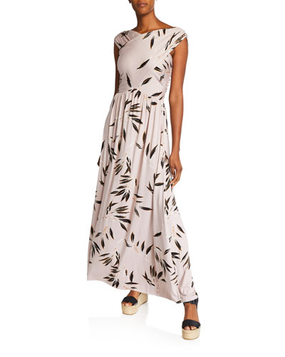 Kerry Leaf-Print V-Neck Sleeveless Maxi Dress