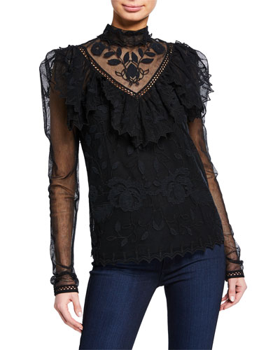 Long-Sleeve Victorian Lace Blouse