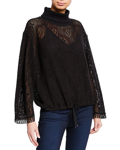Turtleneck Lace Long-Sleeve Top