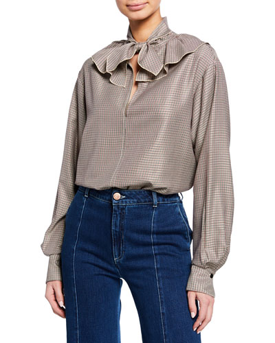 Tie-Neck Ruffle Check Long-Sleeve Blouse