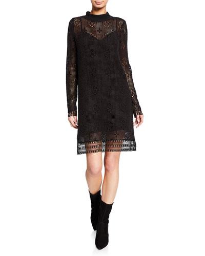 Mock-Neck Lace Long-Sleeve Dress