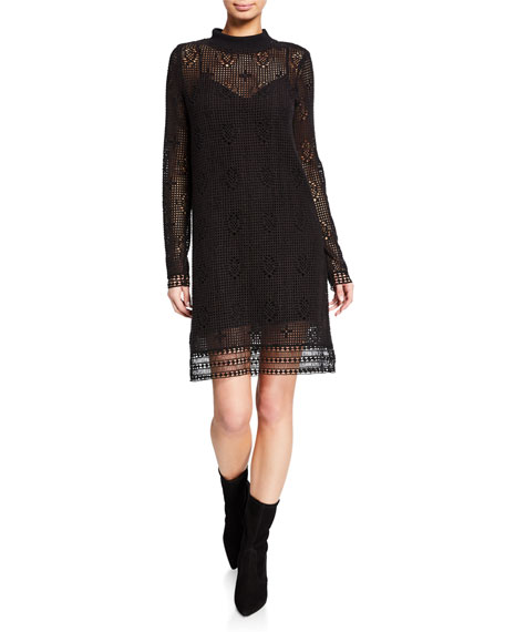 See by Chloe Mock-Neck Lace Long-Sleeve Dress
