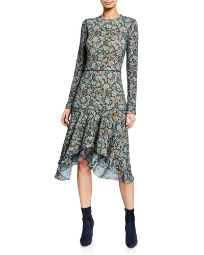 Long-Sleeve Tiered Printed Flounce Dress