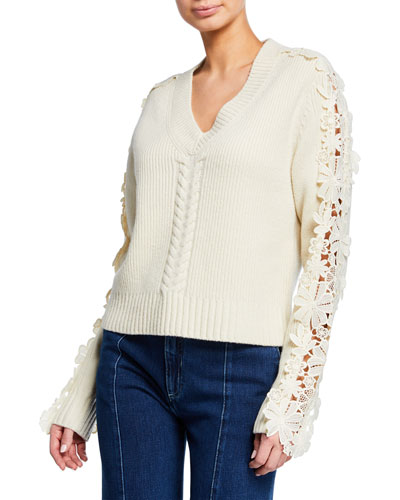 Lace-Trim V-Neck Pullover Sweater