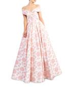 Ieena for Mac Duggal Floral-Print Draped Off-The-Shoulder