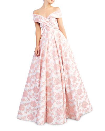 Floral-Print Draped Off-The-Shoulder Short-Sleeve Ball Gown