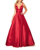 Mac Duggal Plunge V-Neck Sleeveless Ruched Empire-Waist Gown