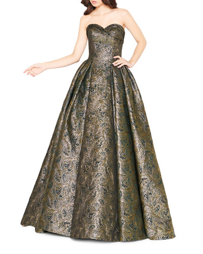 Metallic Brocade Pleated Strapless Ball Gown with Pockets