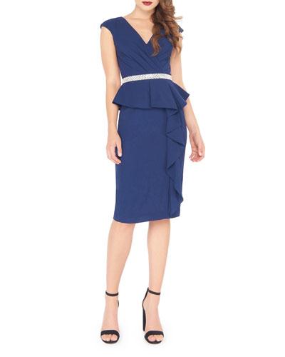 V-Neck Cap-Sleeve Knee-Length Peplum Dress