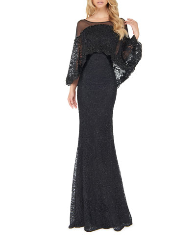 Off-the-Shoulder Cape Overlay Lace Trumpet Gown