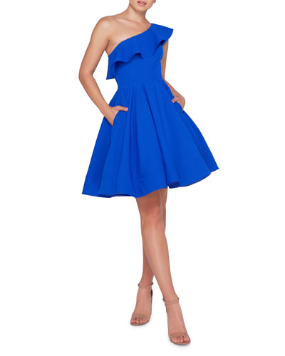 de4aabe0e1 Fitted Ruffled Flare Dress | Neiman Marcus