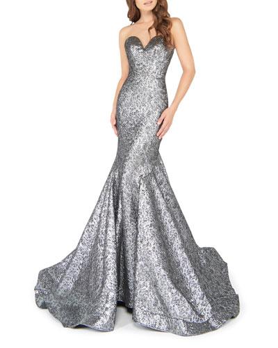 Sweetheart Strapless Metallic Mermaid Gown