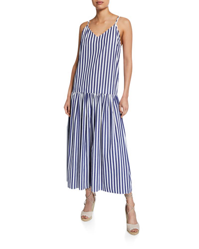 Raffaella Striped V-Neck Drop Waist Organic Cotton Maxi Dress