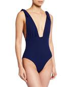 Mara Hoffman Daphne Shoulder-Tie Deep V One-Piece Swimsuit