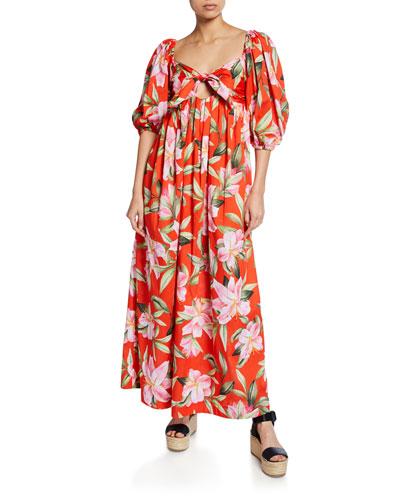915cbbcc49c76 Quick Look. Mara Hoffman · Violet Floral-Print Tie-Front Organic Cotton  Maxi Dress