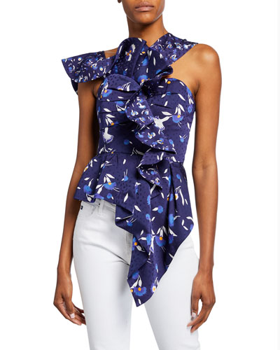 Frilled Botanical-Print Sleeveless Top