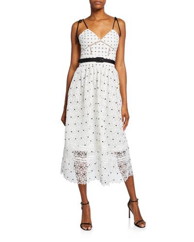 Floral Guipure Lace Midi Dress