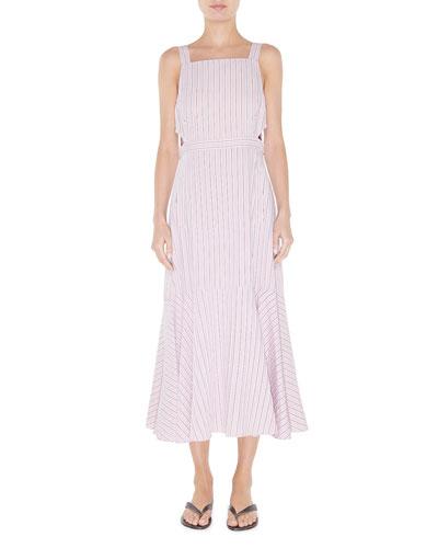 Striped Viscose Twill Strappy Flared Dress