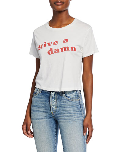 Give A Damn Babe Short-Sleeve Slogan Crop Tee
