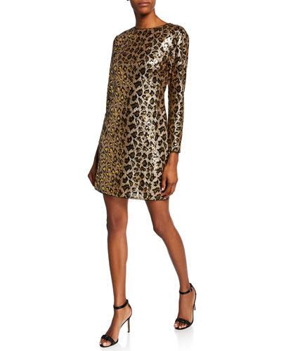 Leopard Sequin Long-Sleeve Sheath Dress
