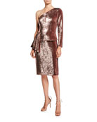 Aidan by Aidan Mattox Sequin One-Shoulder Peplum Cocktail