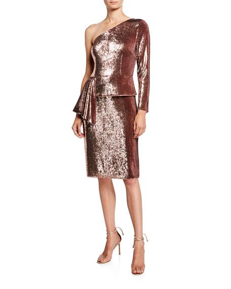 Aidan by Aidan Mattox Sequin One-Shoulder Peplum Cocktail Dress