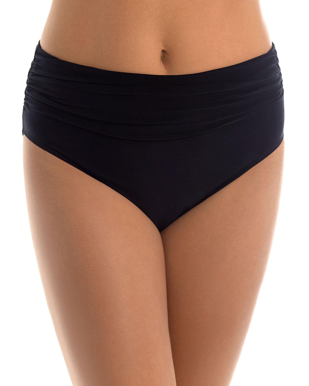Jersey Shirred High-Waist Bikini Bottom