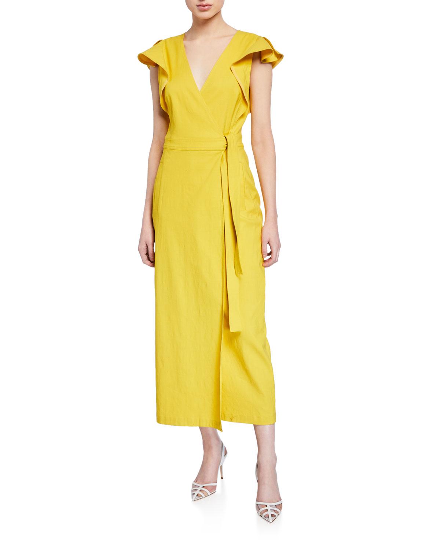 A.l.c Dresses WALKER FLUTTER-SLEEVE WRAP DRESS