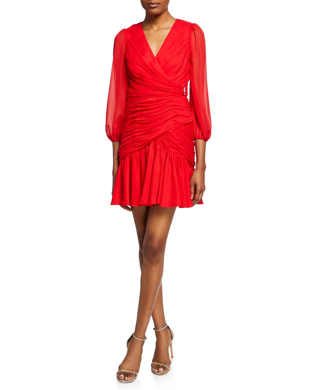 Jill Jill Stuart Dresses SHIRRED BLOUSON-SLEEVE FAUX-WRAP DRESS