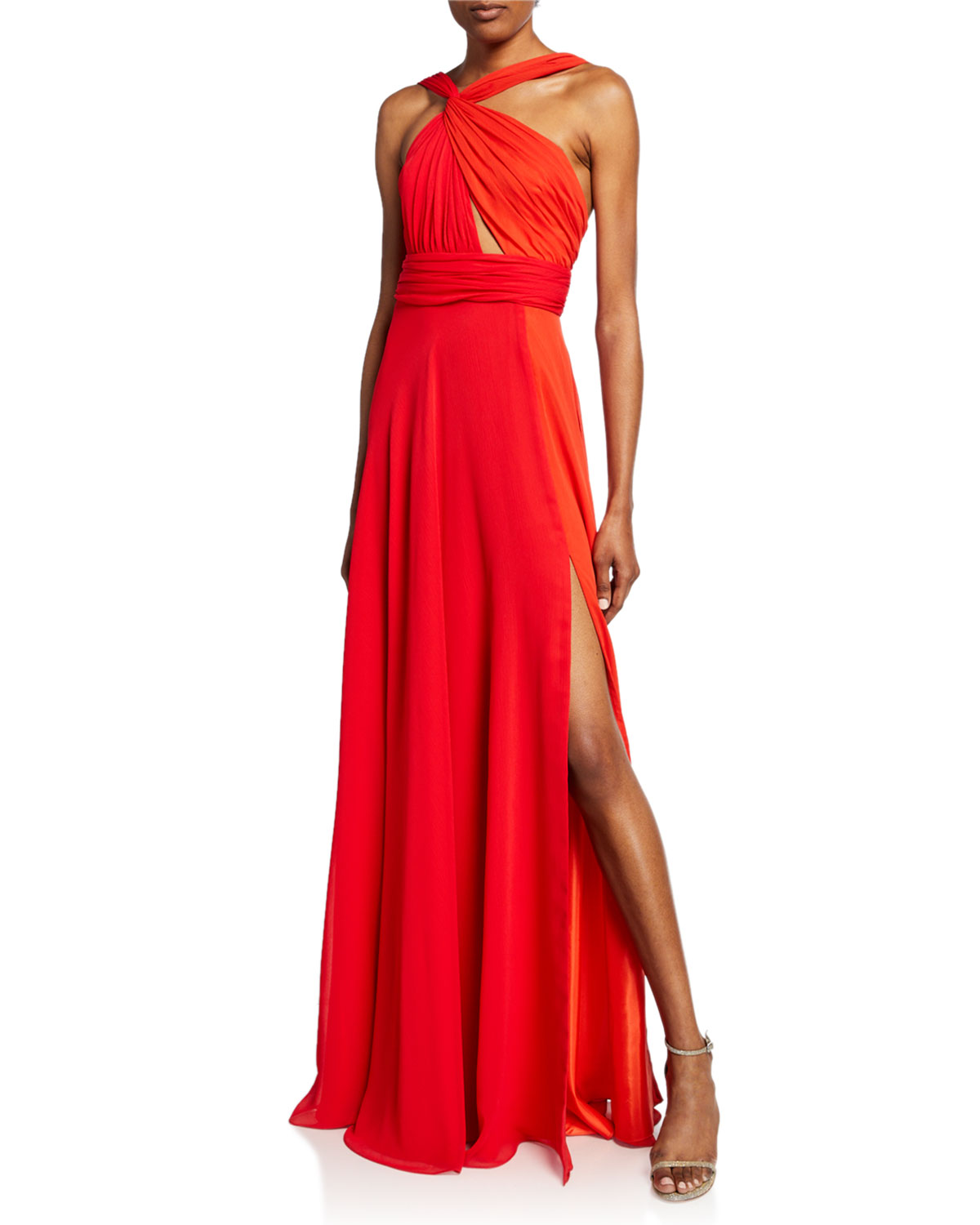 Jill Jill Stuart Tops TWO-TONE HALTER GOWN WITH THIGH SLIT