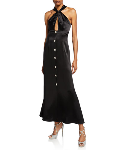 Keyhole Midi Satin Halter Dress with Buttons