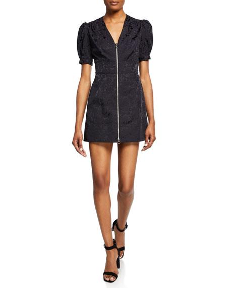Jill Jill Stuart Floral Zip-Front Short-Sleeve Mini Dress