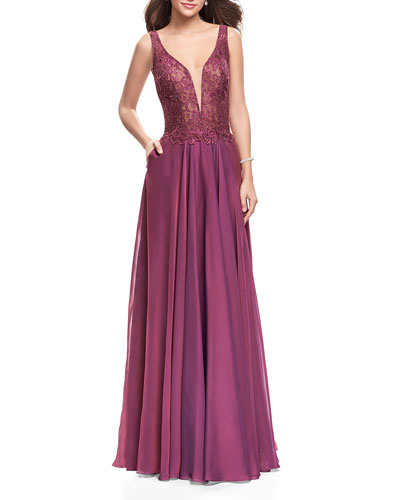 Sequin Lace Bodice V-Neck Sleeveless Chiffon Gown