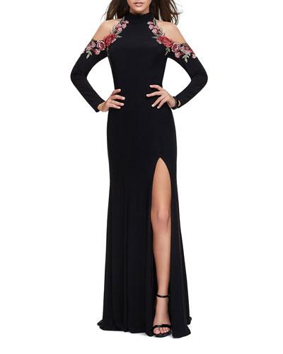 Cold-Shoulder Long-Sleeve Halter Gown with Embellished Rose Appliques