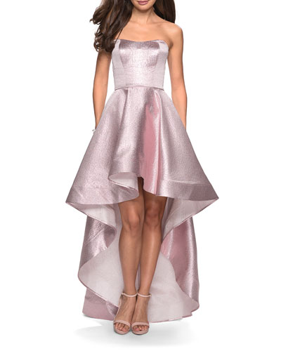 Metallic Strapless Sweetheart High-Low Gown with Pockets